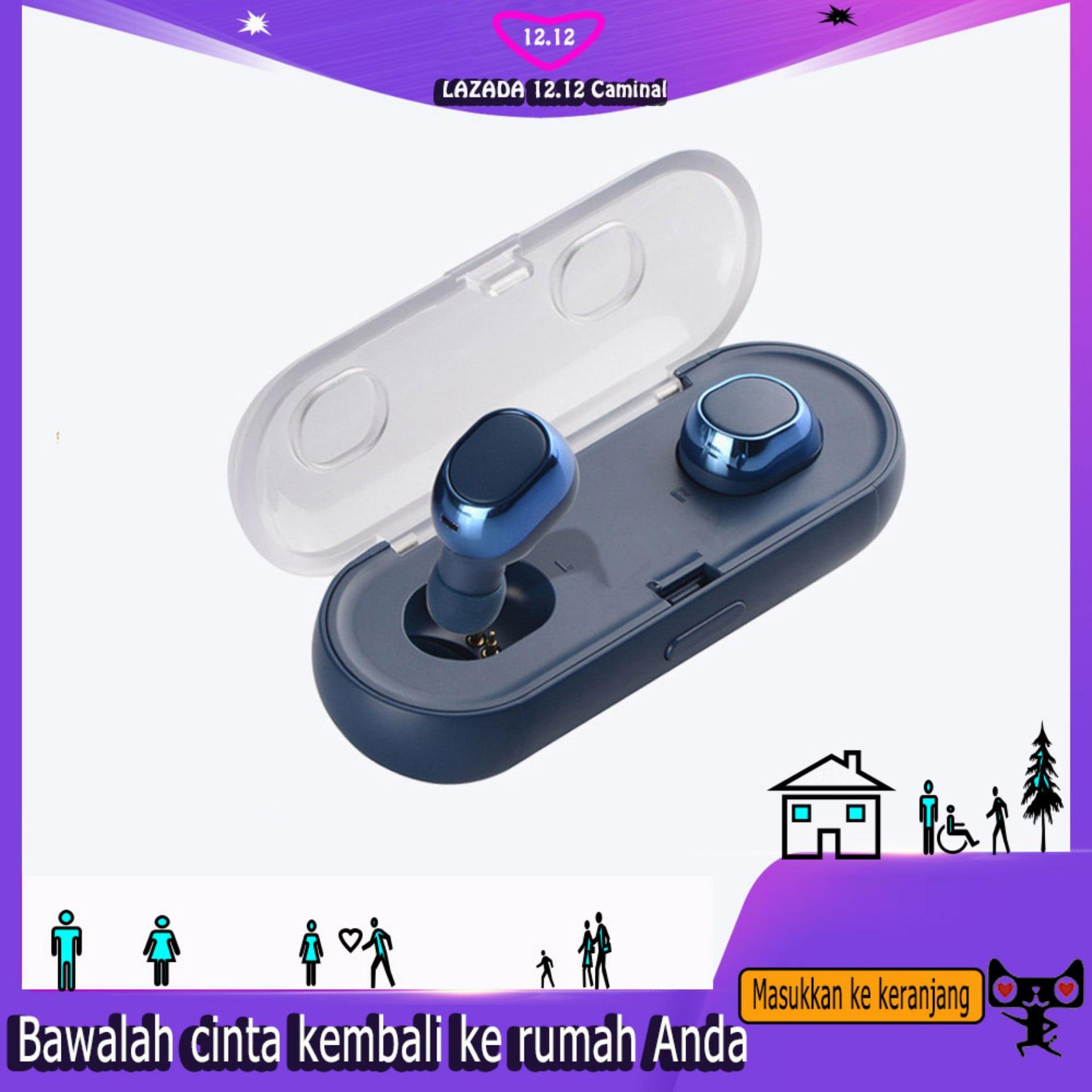 Eversalute Benar Bluetooth Earburds, Penjualan Terlaris Mini Kembar Headphones Stereo, Headset Dalam Telinga dan Mobil Earphone Bulit-in Mikrofon untuk iPhone, HP, Samsung, Xiaomi Dll