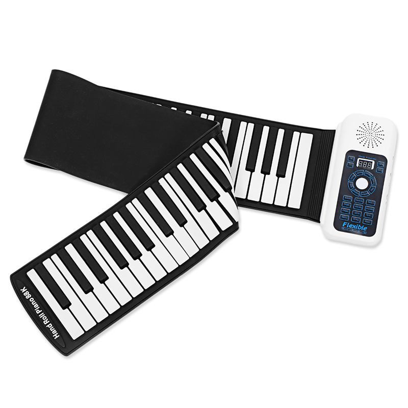Portable Silicone+plastic 88 Keys Hand Roll Up Electronic Piano Keyboard With MIDI Learning Learning Toy Music Toy Musical Instrument (US Plug)