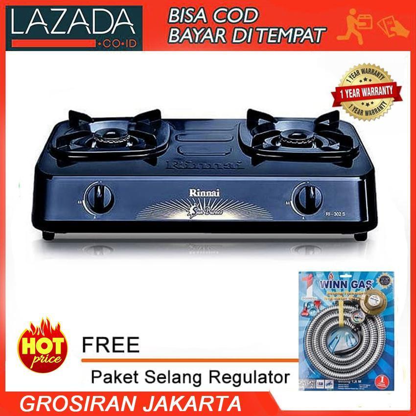 Rinnai RI-302S Kompor Gas 2 Tungku + Selang Paket Regulator Winn Gas