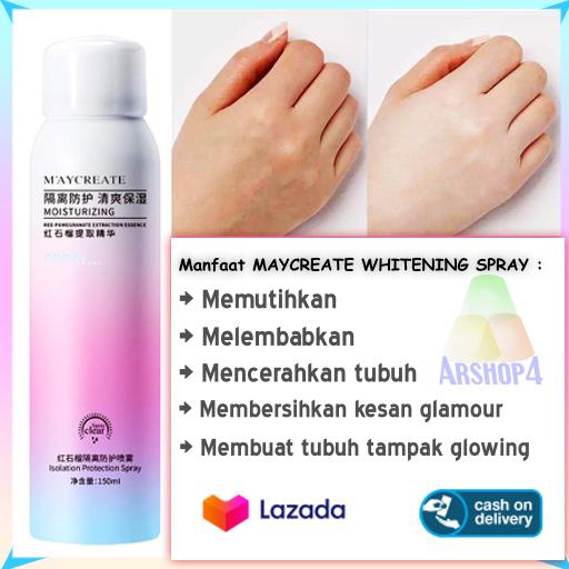 Pemutih Kaki Pemutih Tangan Maycreate Whitening Spray 150 Ml Memutihkan Kulit Badan Leher Dan Ketiak Lazada Indonesia