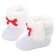 Bayi Balita Sepatu Non-slip Sepatu Musim Dingin Bayi Perempuan Plus Velvet Warm Snow Boots 0-12 Bulan WMC9051 (putih)