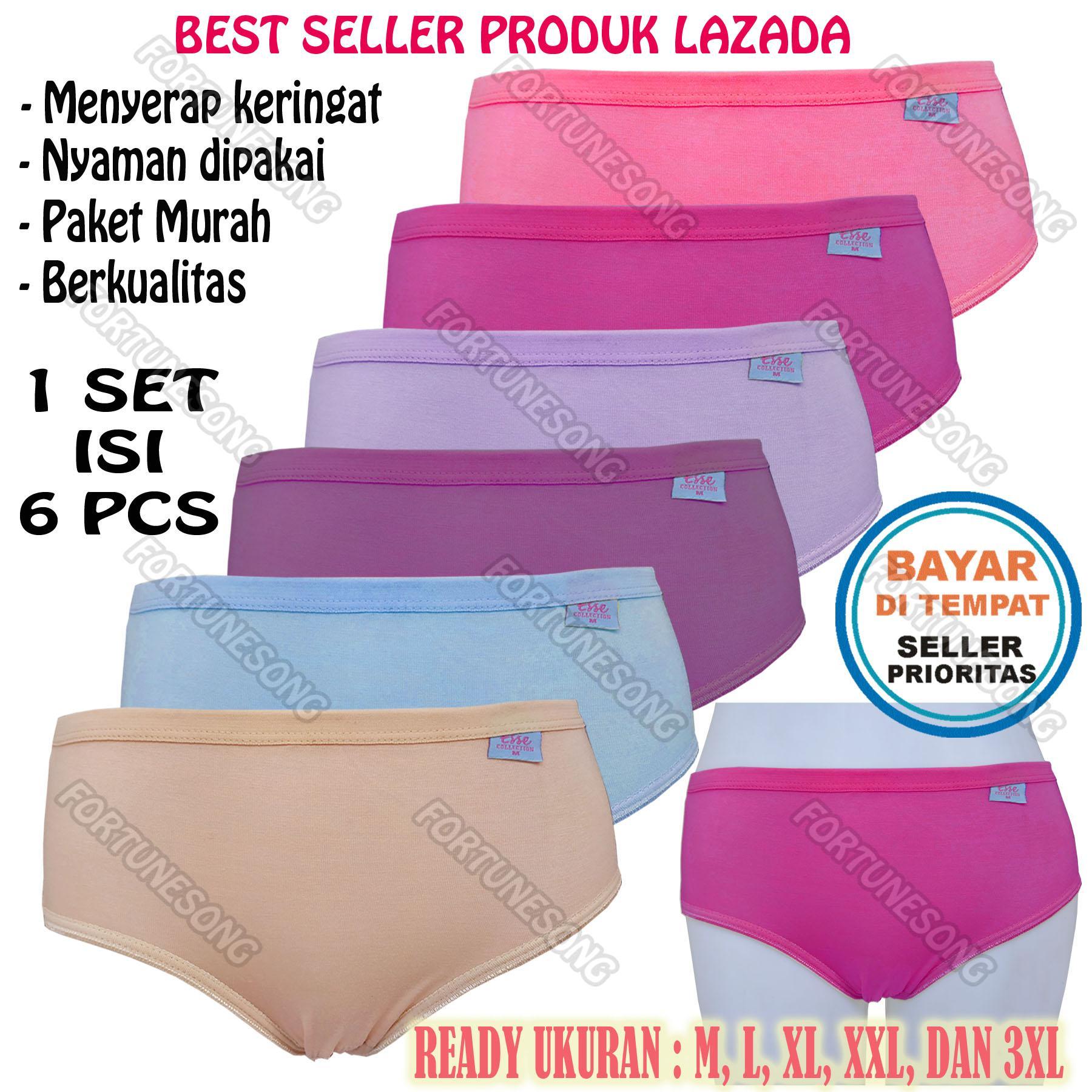 Fs Fashion 6 Pcs Celana Dalam Wanita Katun Aneka Warna  Multicolour  (1 b1bed04af8
