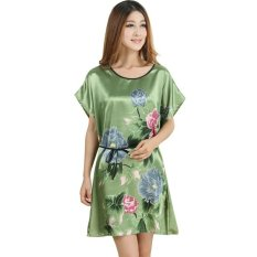 Baju Tidur Baju Santai Wanita Polyester Printing Motif Bunga - Hijau