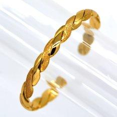 Harga Bangles Baru Fashion Merek Besar Vintage Cuff Bracelet 18 K Emas Emas Disepuh Resizable Bangles Pria Perhiasan Hadiah Online