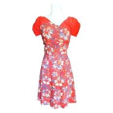 Batik Ardis Dress Kombinasi Slempang - Oranye