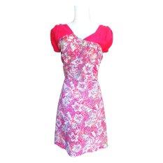 Batik Ardis Dress Kombinasi Slempang - Pink