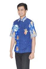 Toko Batik Betawi Shop Hem Batik Betawi Motif Ondel Ondel Biru Dekat Sini
