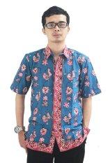 Batik Cap Jambi Model Baju Batik Pria Cap Asli Jambi Berkualistas - Zallatra - Biru + Gratis Canting