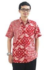 Batik Cap Jambi Model Baju Batik Pria Cap Asli Jambi Berkualistas - Zallatra - Merah