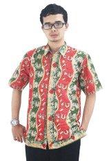 Batik Cap Jambi Model Baju Batik Pria Cap Asli Jambi Berkualistas - Zallatra - Merah + Gratis Canting