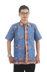 Batik Cap Jambi Model Baju Batik Pria Cap Asli  - Zallatra - Biru + Gratis Canting