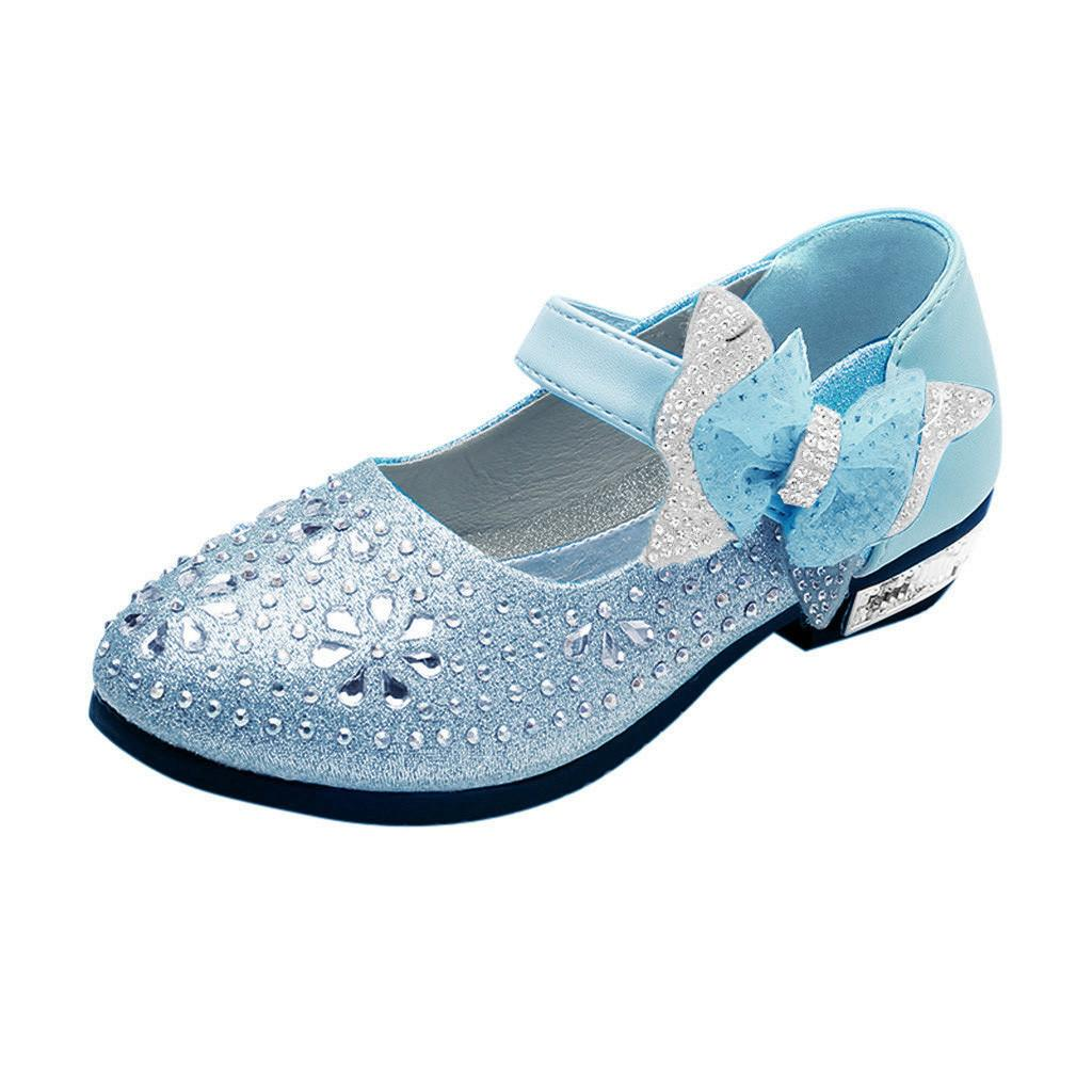 Kids Baby Girls Crystal Sequins Single Dancing Princess Shoes Mary Jane Sandals