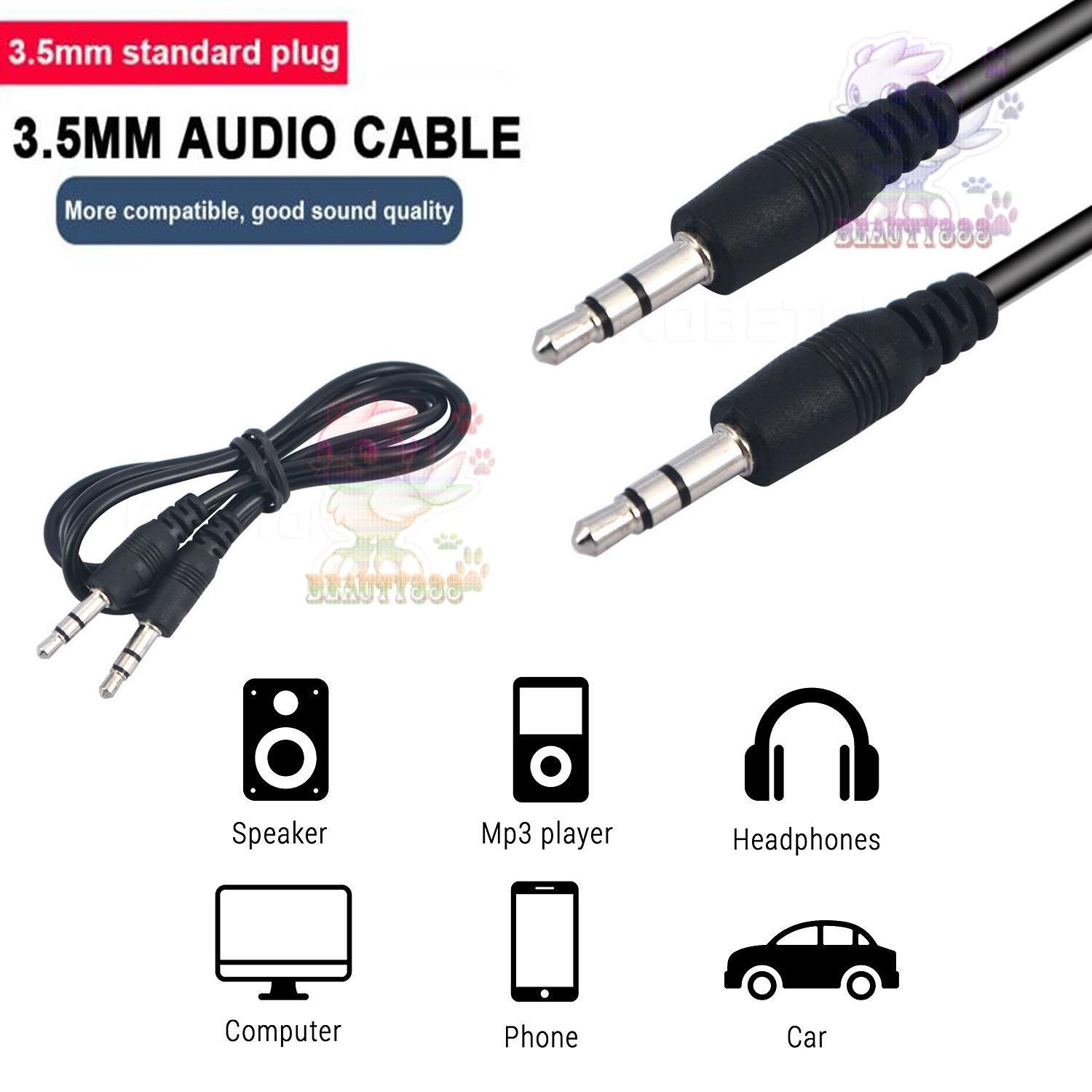 Aux Cable 3.5mm to 3.5 mm Male to Male Jack Car Audio Cable Line Cord for Phone MP3 CD Speaker / Cable Audio Male To Male / Kabel Audio Aux Male To Male / Cable Audio Aux / Cable Aux Audio / Kabel Aux Audio - Warna Random
