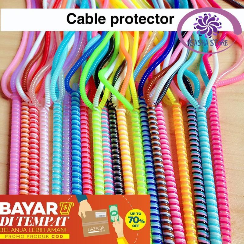 SS Pelindung Kabel 3 Warna Spiral BUY 1 GET 1 FREE / Protector Cable 3 Tone Karet Pelindung Kabel Pengamana Kabel Charger - Random Color