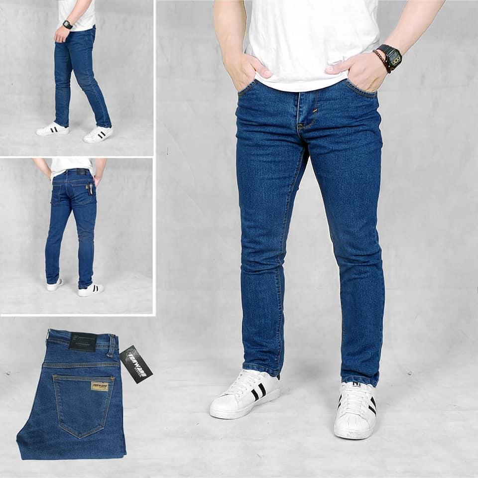 Celana jeans skiny fit pria original forward - Hitam - Black