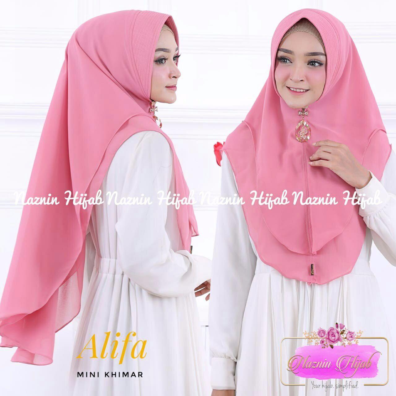 Alifa Mini Khimar (warna Dusty Pink) Ori by Naznin l hijab jilbab instan kerudung bergo best seller fashion baju muslim wanita dress atasan kemeja blouse muslimah casual formal daily jumpsuit