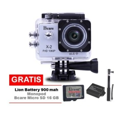 Review Bcare Action Camera B Cam X 2 Wifi 12 Mp Full Hd 1080P Silver Gratis Sd Card 16Gb Class 10 Monopod Li Ion Battery 900 Mah Terbaru