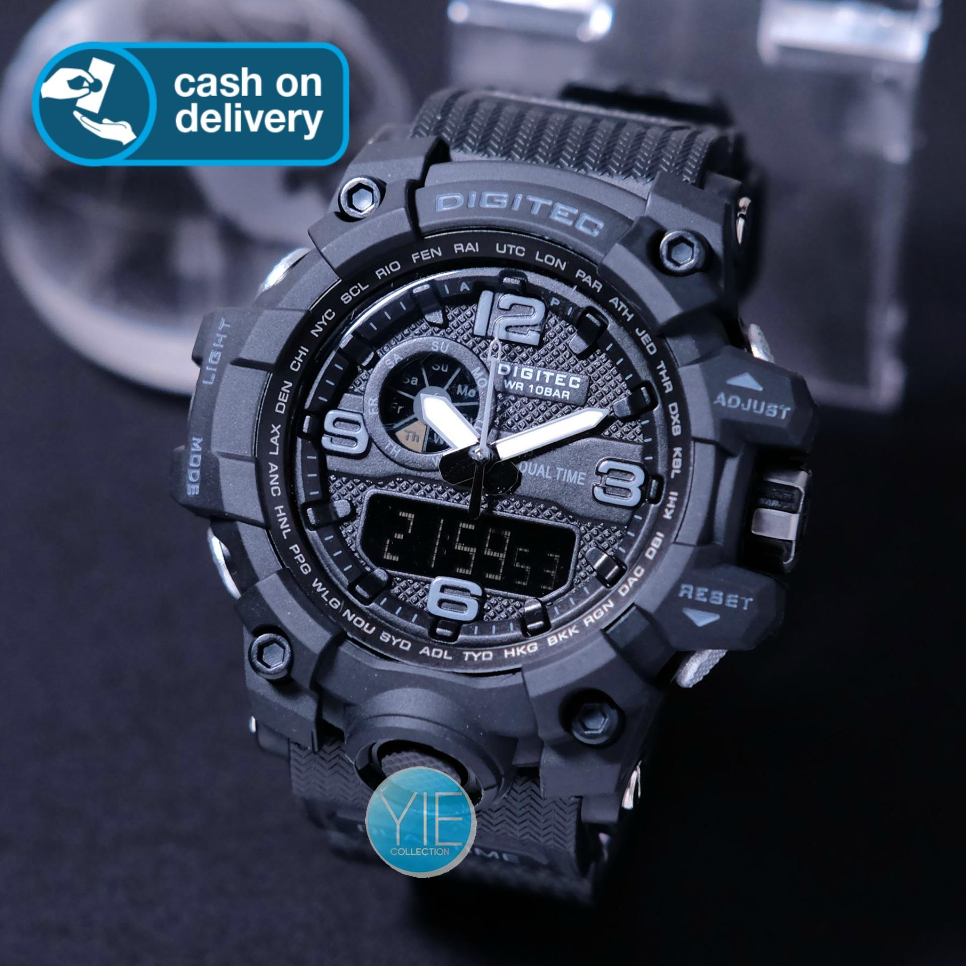 Digitec Jam Tangan Sport Pria DG 2093 T Dual Time Original Anti Air - Hitam