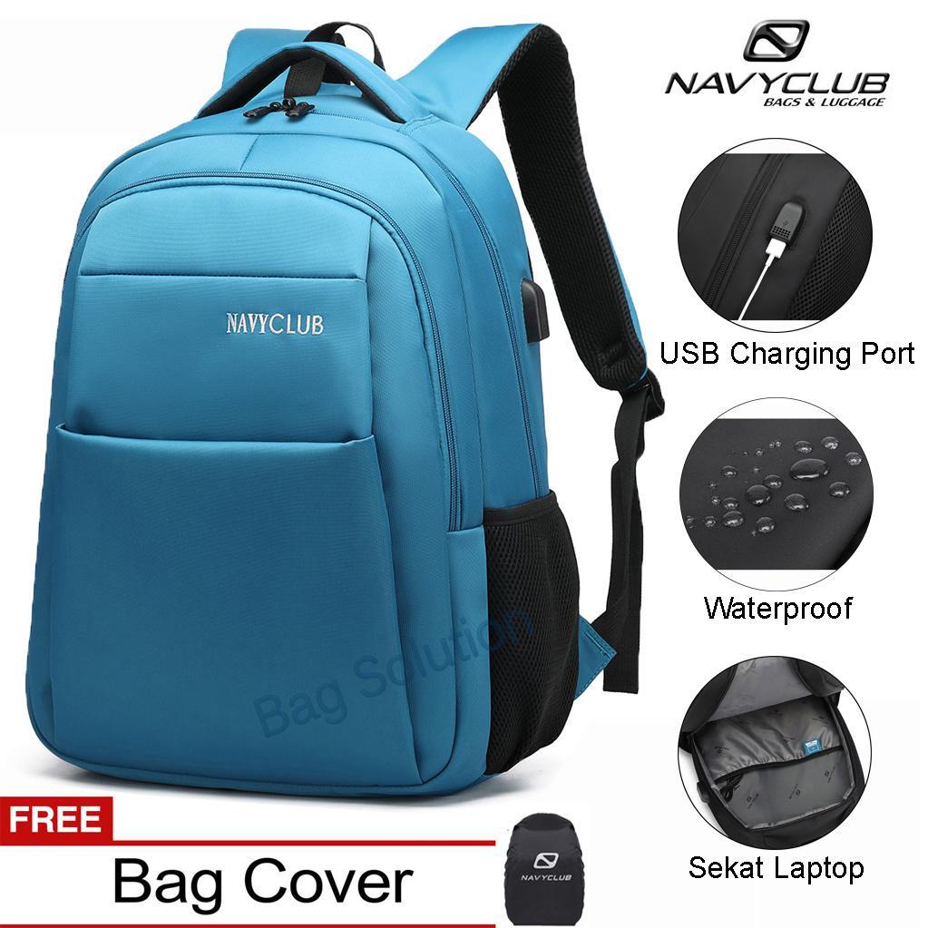 Navy Club Tas Ransel Laptop - Tas Pria Tas Wanita Tas Punggung - Backpack built in USB Charger Up to 15 inch Anti Air EIFB BPU - Bonus Cover Tas - Gratis Ongkir Seluruh Indonesia