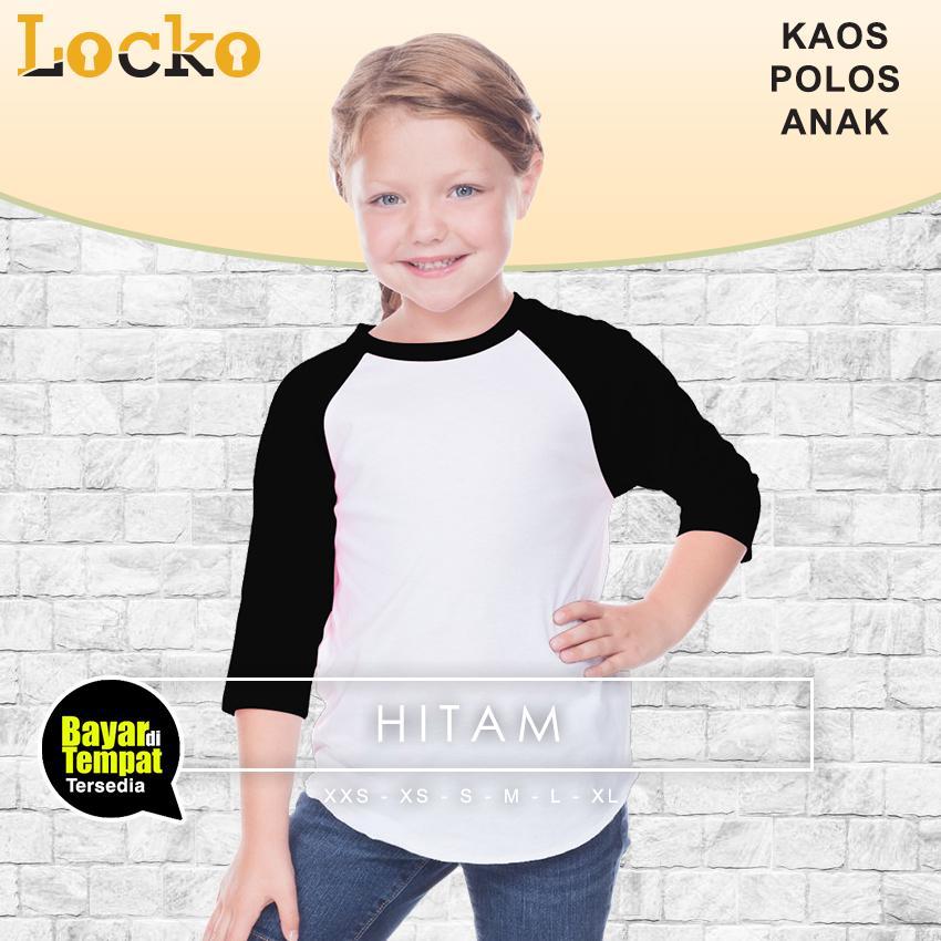 Locko T-shirt Kaos Polos Anak Perempuan Raglan Lengan 3/4 PUTIH- Tangan Warna kombinasi, Keren, murah , Fasionable