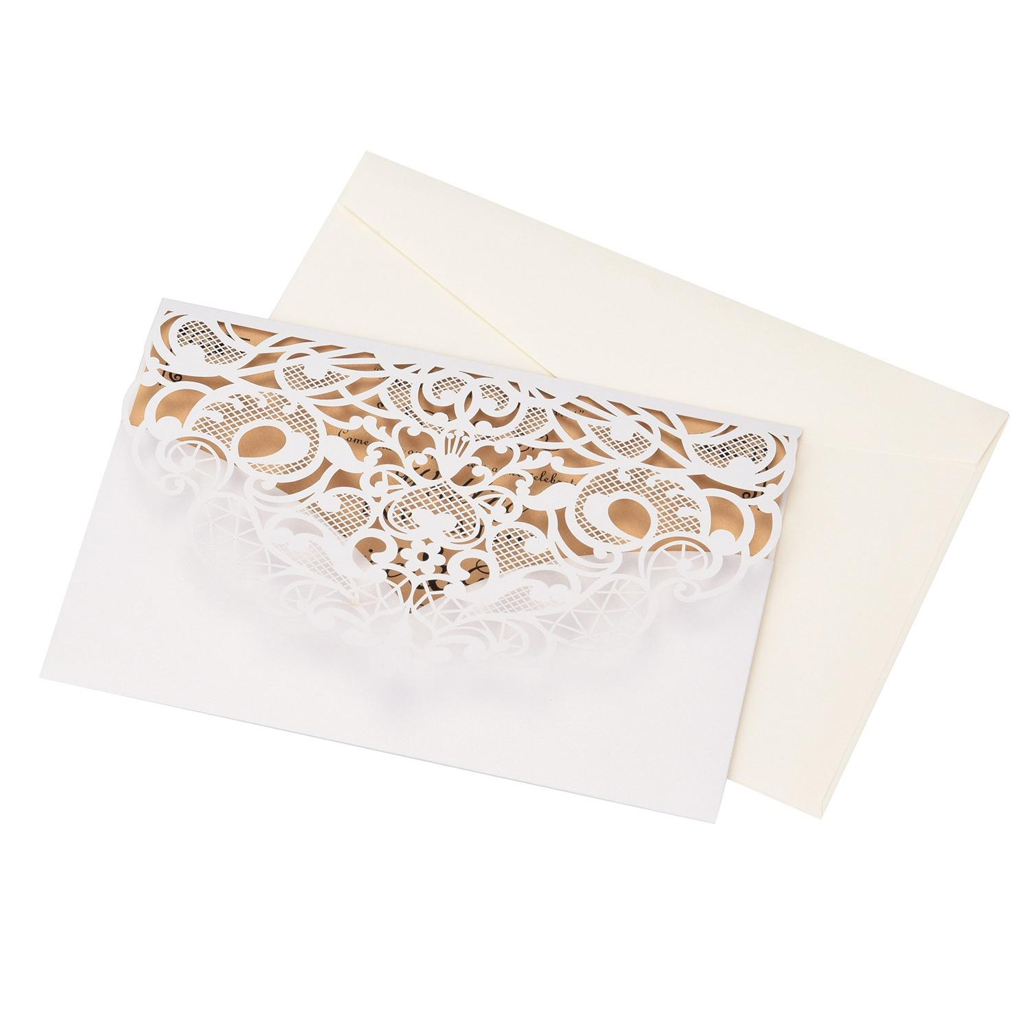 20Pcs Wedding Invitation Cards -Cut Gold Foil And Floral Design Invitation Pockets for Bridal Showers, Engagement Parties(White)