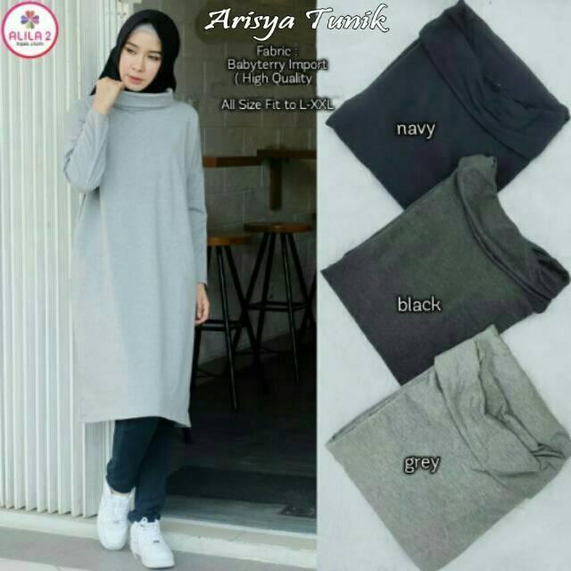 Vshop91jkt - Arisya Turtleneck Blouse Dewasa Tunik Muslim Baju Gamis Wanita model terbaru Tunik wanita Baju