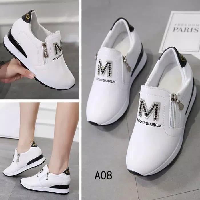 Sepatu Wedges Wanita M White Ziiper-Kiss Shop