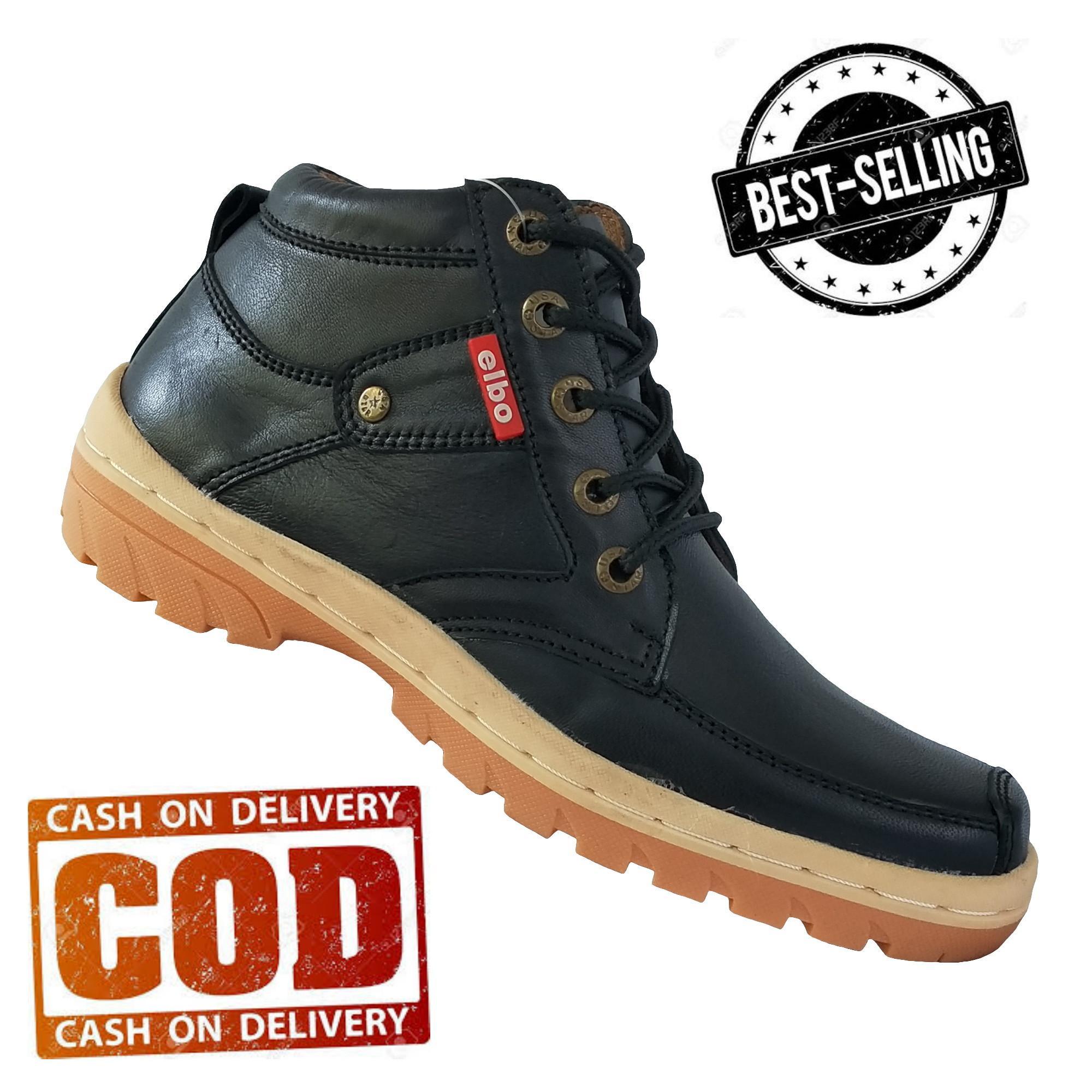 Elbo - Sepatu Pria Casual/sepatu Boot Pria/sepatu Kulit Pria 100% Asli - Bh01 - Hitam By Newbie Coll.