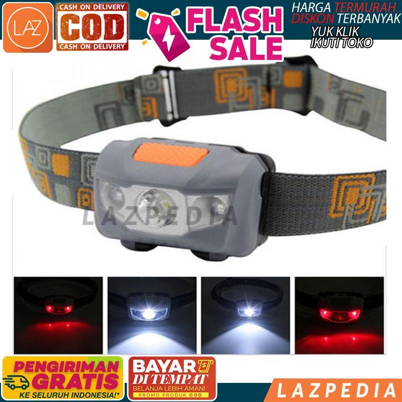 Cod - [gray W03] Headlamp Flashlight Waterproof White & Red Led / Lampu Kepala / Penerangan / Lampu Penerangan - Lazpedia A1032 By Lazpedia.