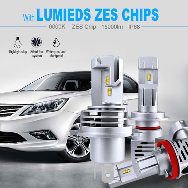 Litao Một Cặp Bóng Đèn Pha Ô Tô Đèn LED Hi/Lo Chip ZES 9003 K Chống Nước H4/9005/HB2/P43t H7/PX26D 9006/HB3/P20D 6000/HB4 60W 12000LM Phụ Kiện Xe Hơi