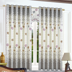 Jual Beautiful Four Petalled Flowers Print Top Silver Grommets Curtain Gyc2208 1 Grey Intl Not Specified Branded