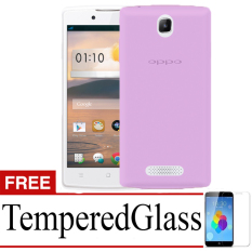 Best Seller Aircase Ultrathin For Oppo R831 + Free Tempered Glass   - Purple Clear