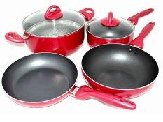 Jual Bestware Panci Set Teflon Anti Lengket Merah Branded
