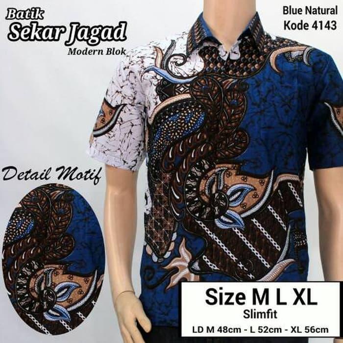 Jual Baju kemeja batik pria  Batik Kerja  Kantor  sekar jagad Biru