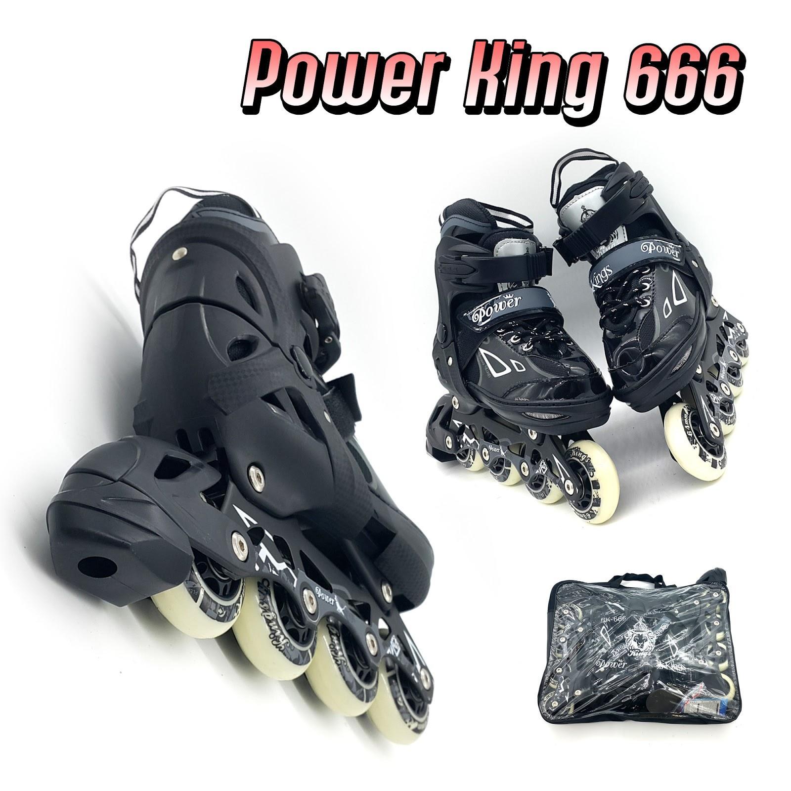 Sepatu Roda Inline Skate Power King 666 Roda Karet Asli a500fd1df9