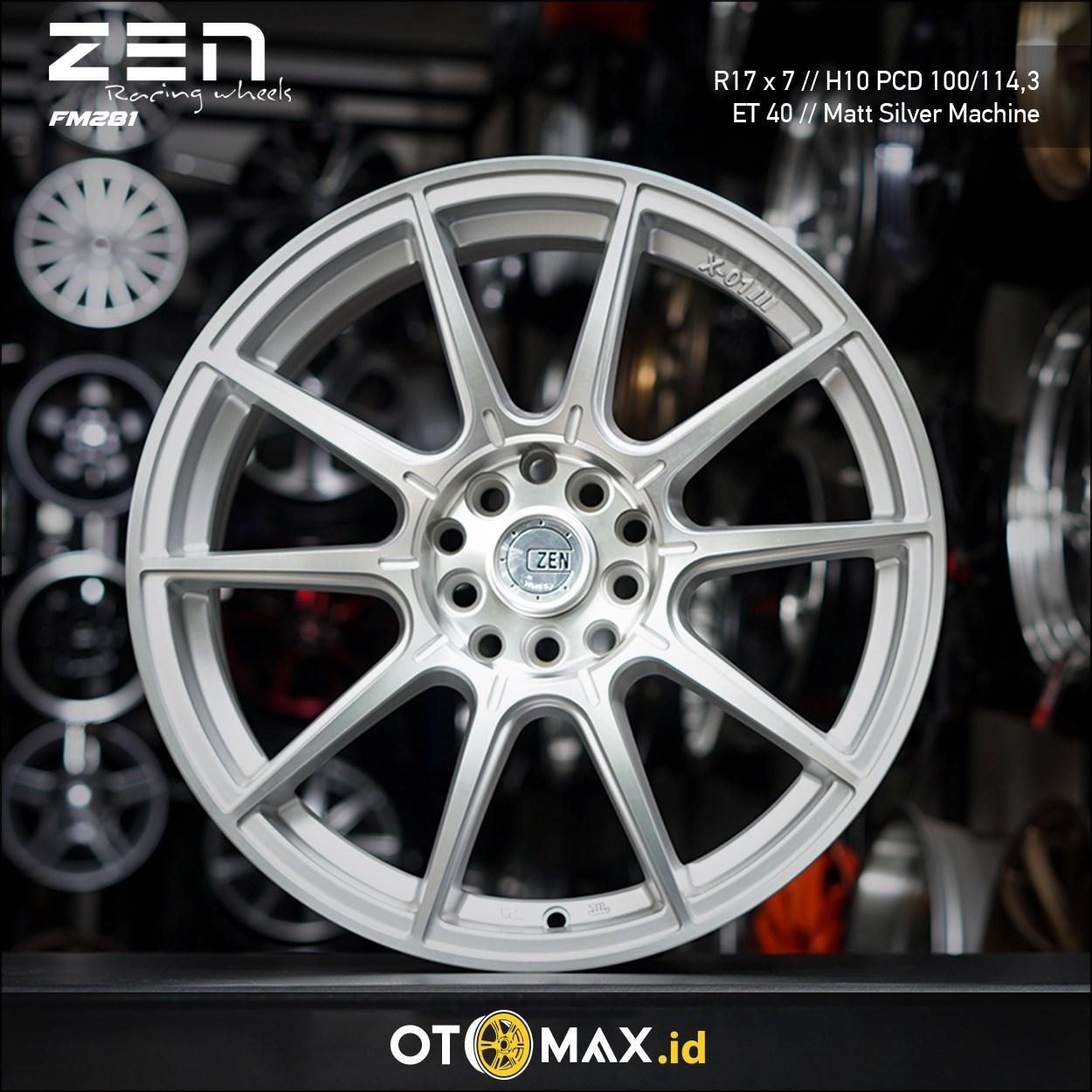 Velg Mobil Zen (GTX01) Ring 17 Matt Silver Machine Face