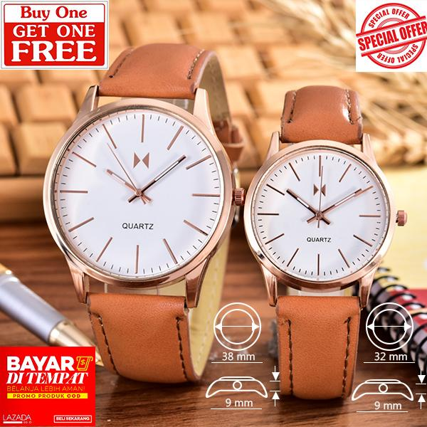 Alexandre Costie – Bonico – Jam Tangan Pria dan Wanita - Body Rose Gold – White - Dial – Brown Leather Strap – Bonico-2984D-GL-RGW-Couple - Brown Leather Strap