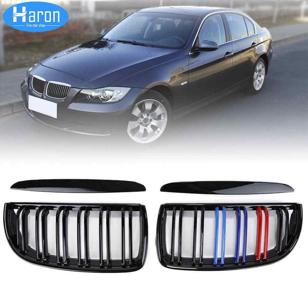 Haron 1 Pair Hitam Glossy Ginjal Depan Pengganti Kisi untuk 2005-2008 BMW E90 320i 323i 328i 335i Sedan/Mobil -Intl