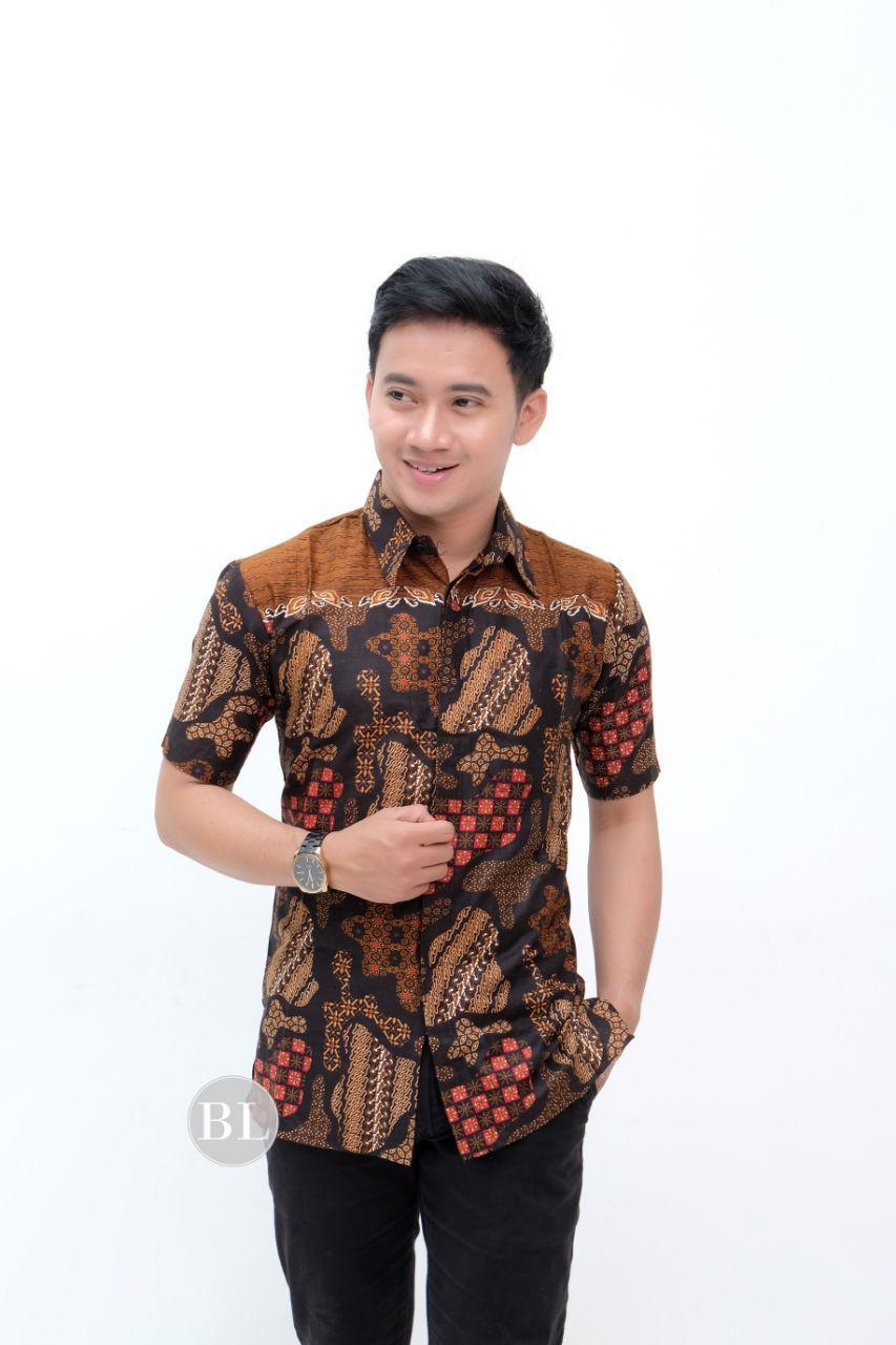Baju Batik Pria Kemeja Batik Pekalongan Murah Lengan Pendek Motif Jogja New Modern Seragam Pesta Resespsi Kantor Dinas Keren Alkhalis