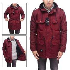 BGSR jaket parka pria waterproof - Merah Maroon - Red Maroon