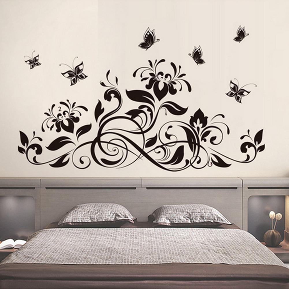 Hitam Bunga Vines Kupu-kupu Wall Decal Home Sticker PVC Mural Vinyl Kertas Rumah Dekorasi Wallpaper Ruang Tamu Kamar Tidur Dapur Art Gambar DIY untuk Anak Remaja Remaja Dewasa Anak-Intl