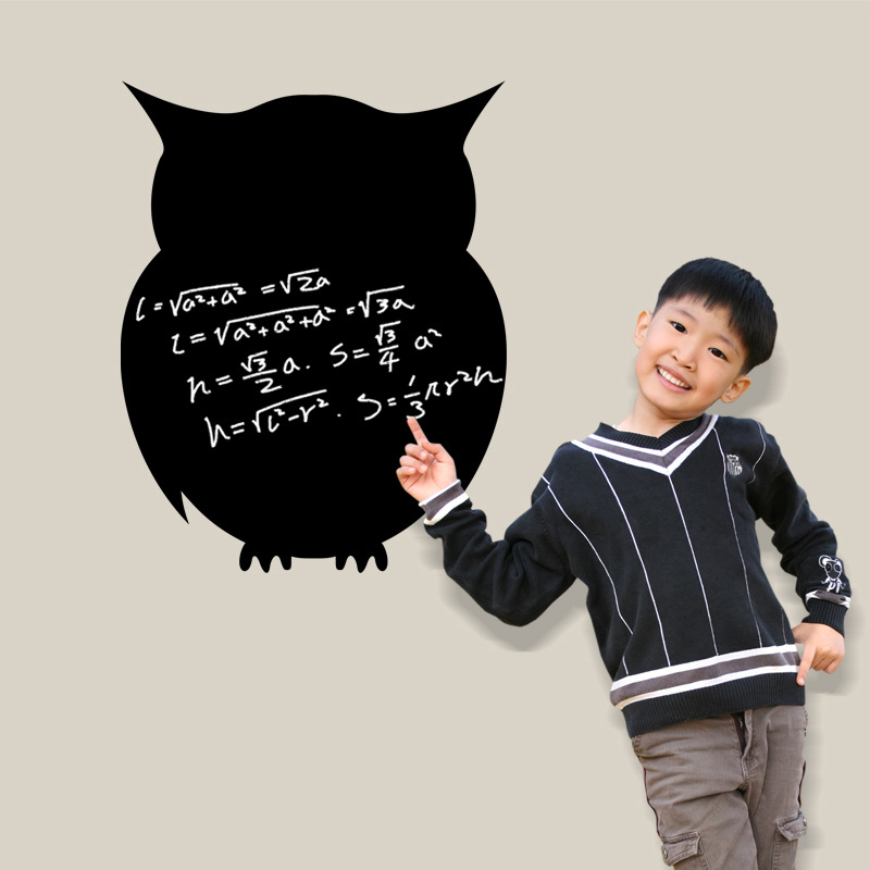 Black Owl Blackboard Papan Tulis Wall Decal Home Sticker PVC Mural Vinyl Kertas Rumah Dekorasi WallPaper Ruang Tamu Kamar Tidur Dapur Gambar Seni DIY untuk Anak Remaja Remaja Dewasa Pembibitan Bayi-Intl