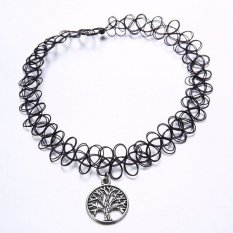 BoHo Hitam Elastis Fishing Line Tattoo Cyber Line Paduan Perak Bulat Tree Pendant Adjustable Magic Kalung Hadiah untuk Wanita