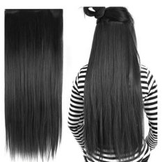 Bos Online Clip in Long Straight Hair Extensions Wigs Hairpieces 20 x 60cm Matt Black (Intl)