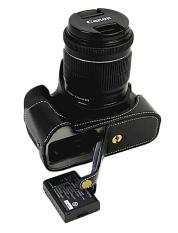 Bawah Pembukaan Versi Pelindung Kulit Nyata Kulit Setengah Tas Wadah Kamera Penutup dengan Tripod Desain untuk Canon EOS 1100D Kamera dengan Asli real Tali Kulit Tangan
