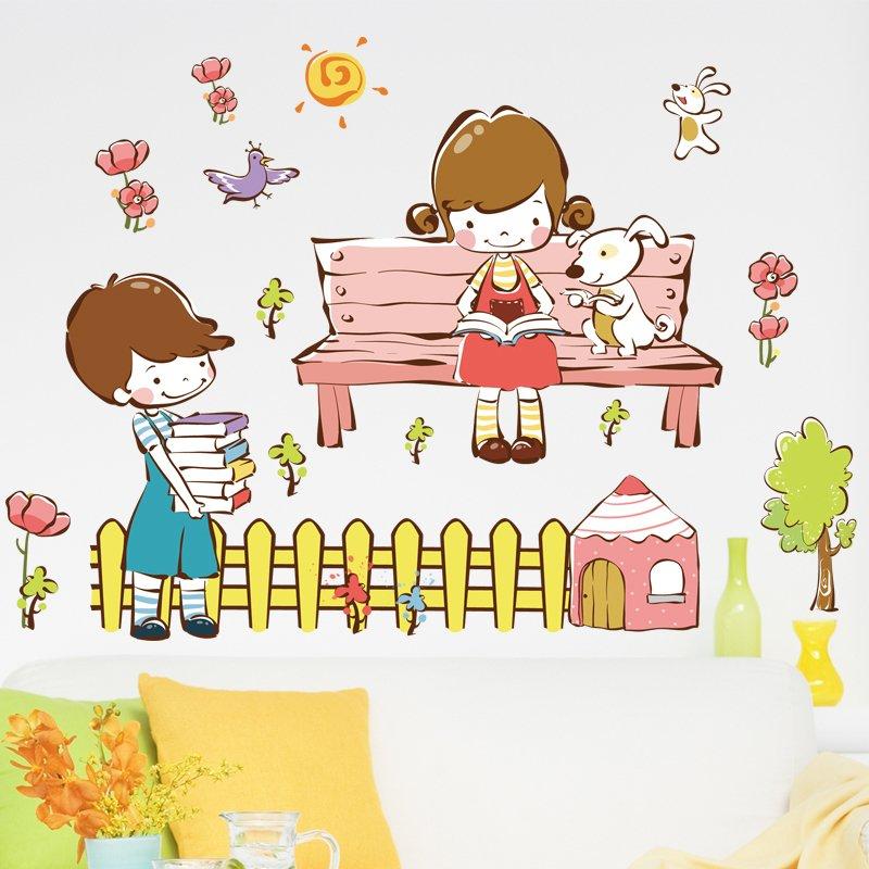 Anak Laki-laki dan Perempuan Cinta Cerita Removable Wall Decal Home Sticker Rumah Dekorasi WallPaper Hidup Dinning Kamar Kamar Tidur Dapur Seni Gambar DIY Murals Girls Boys Kids Nursery Baby Playroom Decor