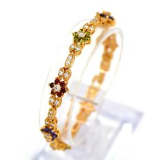 Gelang untuk Wanita 18 K Emas Emas Disepuh Austria Crystal Rhinestone Fashion Perhiasan Bangles Hadiah
