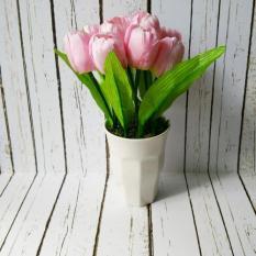 Spesifikasi Bunga Tulip Pink Tanaman Rangkaian Bucket Buket Bunga Pohon Plastik Artificial Artifisial Sintetis Pot Vas Melamin Hiasan Bagus