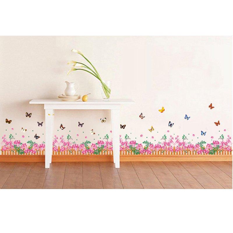Butterfly Bunga Garden Vinyl Wall Decal PVC Rumah Sticker Rumah Dekorasi Kertas WallPaper Ruang Tamu Kamar Tidur Dapur Gambar Seni DIY Murals Girls Boys Kids Nursery Baby Playroom Decor