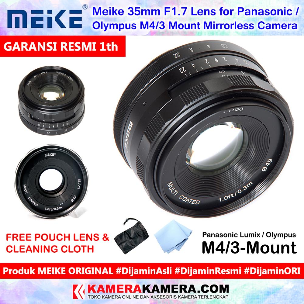 Meike 35mm F1.7 Lens For Micro 4/3 Mount Mirrorless Camera Original Include Pouch + Cleaning Cloth - Garansi Resmi 1th For Panasonic Lumix / Olympus Mirrorless Camera By Kamerakamera.